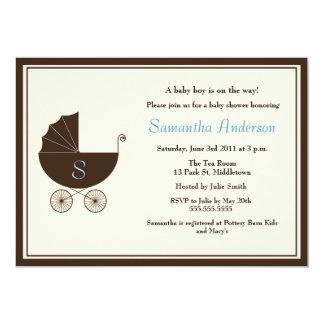 Monogram Carriage Baby Shower Invite - Boy