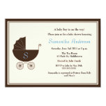 "Monogram Carriage Baby Shower Invite - Boy 5"" X 7"" Invitation Card"