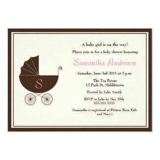 Monogram Carriage Baby Shower Invite - Girl