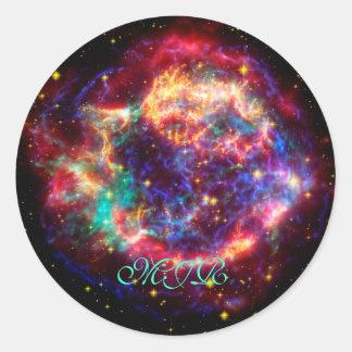 Monogram Cassiopeia, Milky Ways Youngest Supernova Classic Round Sticker