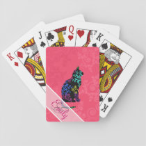 Monogram Cat Animal Abstract  Neon Pink Swirls Playing Cards