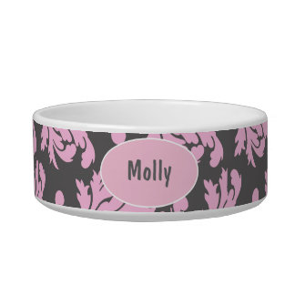 Monogram Cat Bowl Damask
