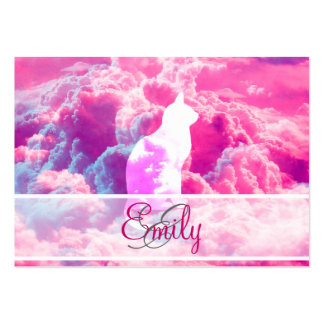 Monogram Cat Vector Bright Pink Clouds Space Large Business Card