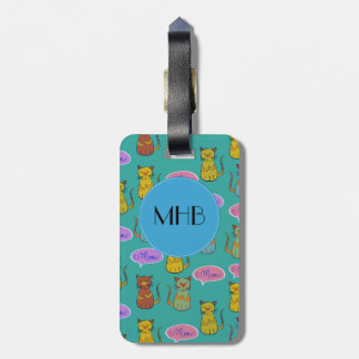 Monogram - Cats, Cat Pattern, Meow - Yellow Green Bag Tag