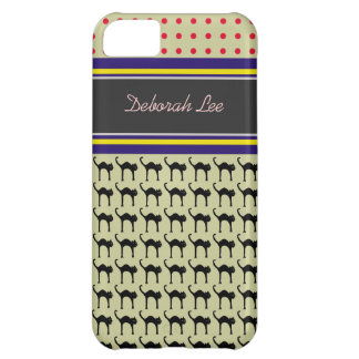 monogram, cats & polka dots cover for iPhone 5C