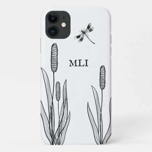 Monogram Cattails and Dragonfly Black and White iPhone 11 Case