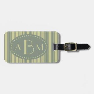 Monogram Celery and Sage Green Stripe Luggage Tag