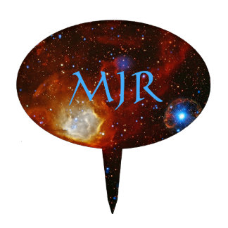 Monogram Celestial Bauble - SXP1062 space picture Cake Topper