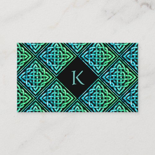 Monogram Celtic Blue Green Business Card