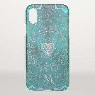 Monogram Celtic Heart Mandala in Aqua Blue Green iPhone X Case