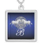 Monogram celtic horse roman granite white blue pendants