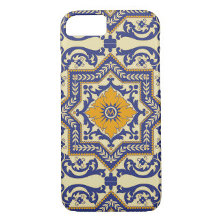 Monogram Ceramic Azulejo Style Blue Phone Case