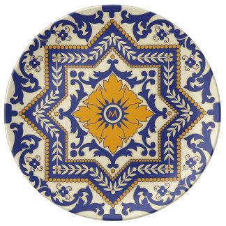 Monogram Ceramic Azulejo Style Blue Plate
