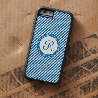 Monogram Cerulean Blue and White Diagonal Stripes Tough Xtreme iPhone 6 Case