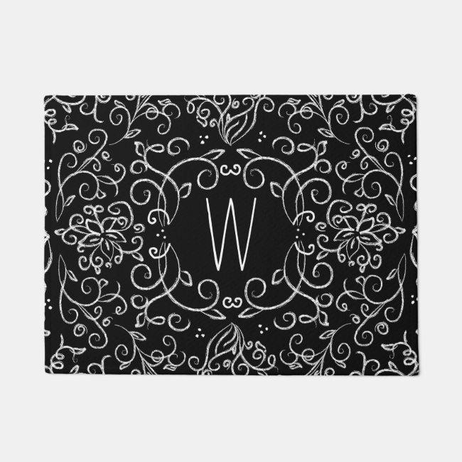 Monogram Chalk Black and White Filigree