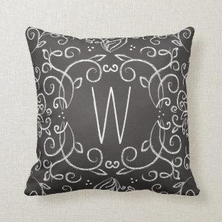 Monogram Chalkboard Black and White Filigree Throw Pillow