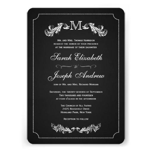 Monogram Chalkboard Formal Wedding Invitations