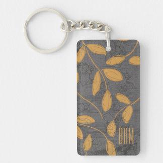 Monogram Chalkboard Leighton Floral Design Keychain