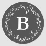 Monogram Chalkboard Wreath Stickers at Zazzle
