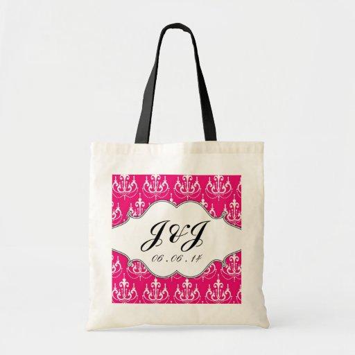 Monogram Chandelier Wedding Date Pink Gift Bag
