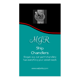Monogram, Chandlers Rope Knot on Wood, red swoosh Business Card