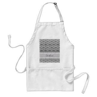 Monogram Charcoal Gray Tribal Ikat Diamond Pattern Adult Apron