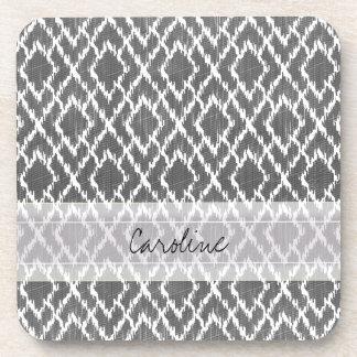 Monogram Charcoal Gray Tribal Ikat Diamond Pattern Coaster