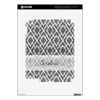 Monogram Charcoal Gray Tribal Ikat Diamond Pattern Decals For iPad 3