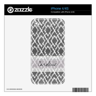 Monogram Charcoal Gray Tribal Ikat Diamond Pattern Decals For The iPhone 4S