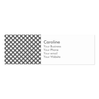 Monogram Charcoal Gray White Polka Dot Pattern Double-Sided Mini Business Cards (Pack Of 20)