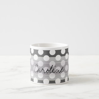 Monogram Charcoal Gray White Polka Dot Pattern Espresso Cup