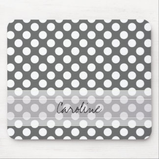 Monogram Charcoal Gray White Polka Dot Pattern Mouse Pad