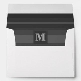 Monogram charcoal stripes envelope