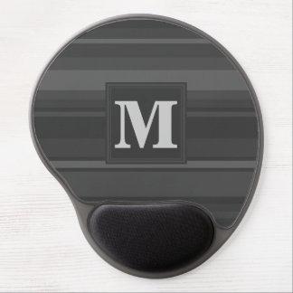 Monogram charcoal stripes gel mouse pad
