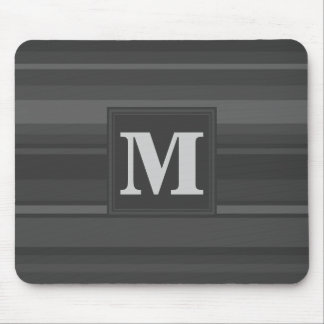 Monogram charcoal stripes mouse pad