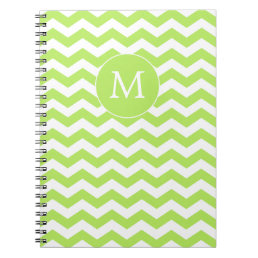 Monogram Chartreuse Green Chevron Notebook