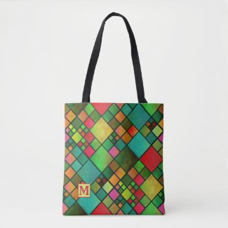 Monogram Checkered Pattern Tote Bag