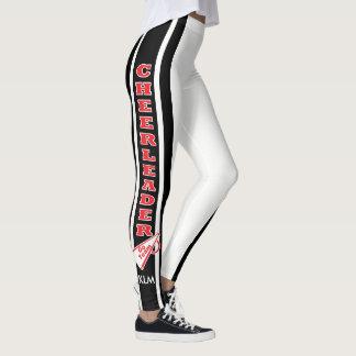 Monogram Cheerleader Red, White Black Leggings