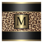 Monogram Cheetah, Leopard Wedding Personalized Announcements