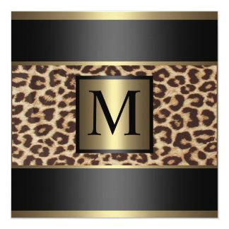 Monogram Cheetah, Leopard Wedding 5.25x5.25 Square Paper Invitation Card
