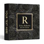 Monogram Chef Recipe Modern Black & Gold Floral 3 Ring Binder