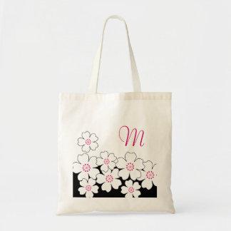 Monogram Cherry Blossom Bridesmaid Totes