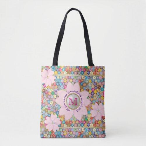 Monogram Cherry Blossom Rainbow Sakura Pearl Gold Tote Bag