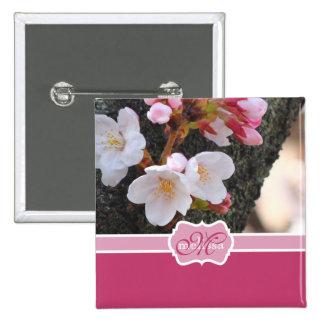 Monogram Cherry Blossom Sakura Blooming Tree Trunk Button