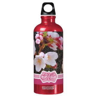 Monogram Cherry Blossom Sakura Blooming Tree Trunk Water Bottle