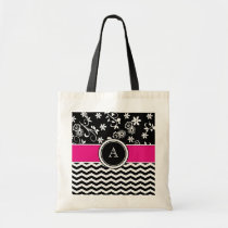 Monogram Chevron and Floral Pattern Tote Bag