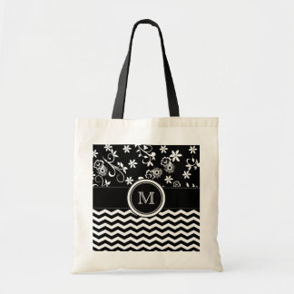 Monogram Chevron and Foral Pattern Tote Bag