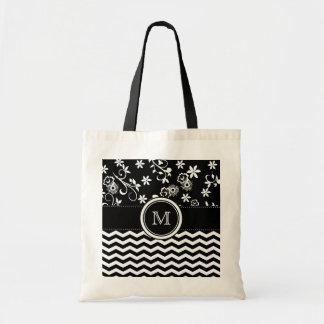Monogram Chevron and Foral Pattern Tote Bag