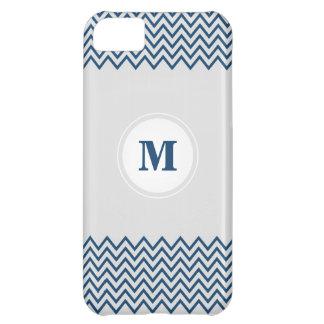 Monogram Chevron Blue / White iPhone 5C Case