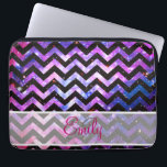 "Monogram Chevron Cute Pink Teal Nebula Galaxy Laptop Sleeve<br><div class=""desc"">Monogram Chevron Cute Pink Teal Nebula Galaxy.. a girly, unique and cool monogrammed pattern design of this zigzag chevron abstract pattern a girly, bright and fun pink, purple Galaxy Nebula Stars, a girly outer space photography of a pink and purple abstract nebula and galaxies and a black space with stars...</div>"